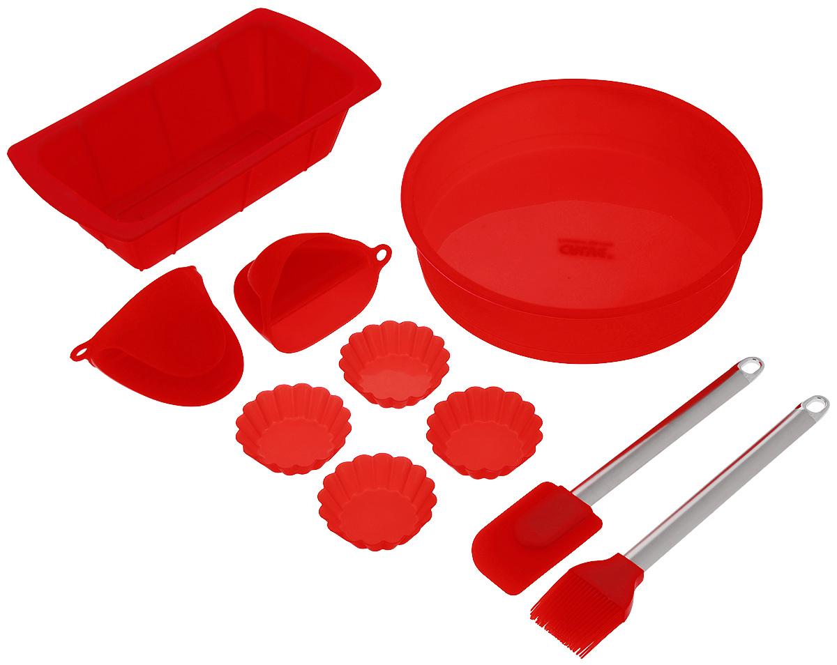 Набор для выпечки Calve, цвет: красный, 10 предметовCL-4609Если вы любите побаловать своих домашних вкусной и ароматной выпечкой по вашему оригинальному рецепту, то набор для выпечки Calve как раз то, что вам нужно!Он прекрасно подходитдля приготовления выпечки, шоколада, желирования, замораживания, а также для приготовления птицы, мяса, рыбы, фаршированных овощей и фруктовых десертов. Набор состоит из большой формы для кекса, формы для пирога, двух прихваток, четырех маленьких форм для кекса, лопатки и кисточки. Предметы набора выполнены из силикона. Силикон устойчив к перепадам температуры от -40°C до +230°C, практичен при хранении за счет гибкости. Рукоятки лопатки и кисточки изготовлены из нержавеющей стали. Кисточка предназначена для смазывания выпечки яйцом, кремом, глазурью, а также для смазывания сковороды маслом при приготовлении блинов и оладий. Лопатка предназначена для вынимания готовой выпечки с противня. Силиконовые формы обладают естественными антипригарными свойствами. Не прилипающая поверхность идеальна для духовки, морозильника, микроволновой печи и аэрогриля. Предметы набора можно мыть в посудомоечной машине, использовать в микроволновой печи, духовом шкафу и морозильной камере.Размер большой формы для кекса: 24 х 24 х 5,5 см. Размер формы для пирога: 26 х 14 х 6 см. Размер прихватки: 11 х 8 х 8 см. Размер маленькой формы для кекса: 7 х 7 х 2 см. Размер рабочей поверхности лопатки: 8 х 5 х 1 см.Длина лопатки: 25 см.Длина ворса кисти: 3,5 см.Длина кисти: 25 см.