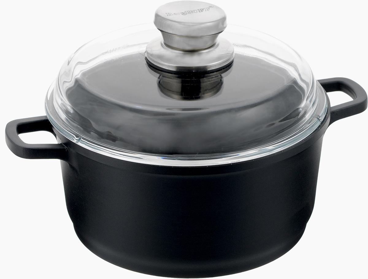Кастрюля BergHOFF Scala с крышкой, с антипригарным покрытием, цвет: черный, прозрачный, 2,7 л2307207Кастрюля BergHOFF Scala изготовлена из литого алюминия, который имеет эффект чугунной посуды. За счет особой технологии литья дно в 2 раза толще стенок. Посуда из алюминия быстро нагревается, что гарантирует сбережение энергии. Изделие имеет малый вес. Внутреннее покрытие - экологически безопасное антипригарное Ferno Green. Корпус кастрюли можно использовать для приготовления пищи в духовке. Подходит для приготовления полезных блюд, сохраняются витамины, минералы. Эргономичные ручки обеспечивают безопасный захват и удобство в поднятии изделий. В комплект входит жаропрочная стеклянная крышка с ручкой, которая плотно прилегает к кастрюле.Легко моется (с помощью бумажного полотенца или влажной тряпочки).Подходит для использования на всех типах плит (газовых, электрических, галогеновых, стеклокерамических), включая индукционные. Рекомендуется мыть вручную. Диаметр кастрюли (по верхнему краю): 20 см. Высота стенки кастрюли: 10,2 см. Ширина кастрюли (с учетом ручек): 28 см. Толщина стенки: 3 мм. Толщина дна: 6 мм.