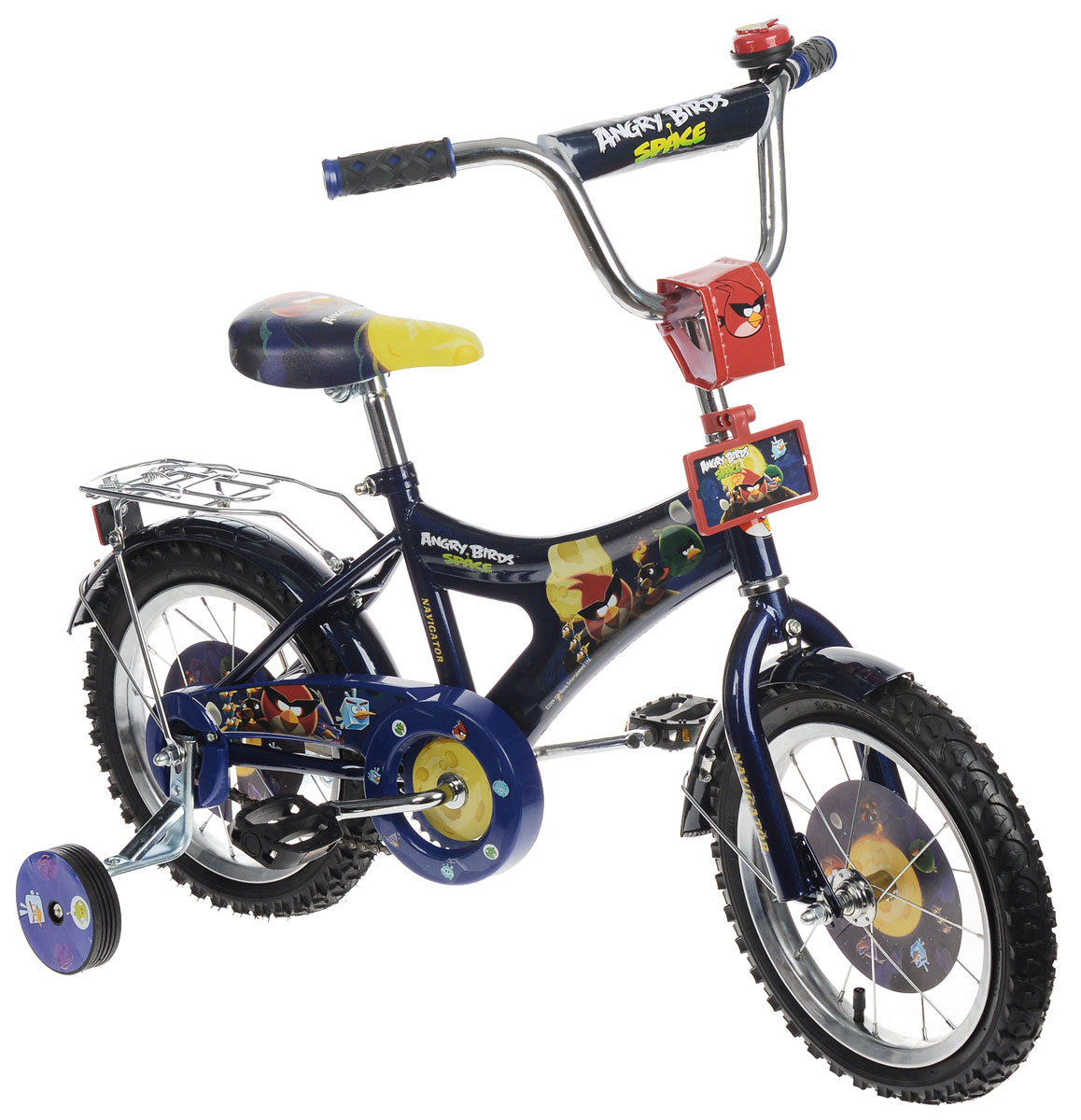 Navigator Trike Велосипед детский двухколесный Angry BirdsВН14128Яркий двухколесный велосипед Angry Birds синего цвета с ручным тормозом отлично подойдет для прогулок вашего ребенка. Велосипед оснащен специальным ограничителем поворота руля, что предотвращает падение ребенка из-за резкого поворота.Мягкое сиденье удобной формы с толстым слоем пенного наполнителя обеспечивает ребенку максимальный комфорт, а специальный пластиковый держатель позволяет брать велосипед без риска поранить руку о внутренние скобы. Велосипед дополнен удобной подножкой и светоотражателями.Велосипед снабжен багажником, крепящимся на руль звонком и двумя дополнительными страховочными колесами. Велосипед оформлен яркими изображениями героев знаменитого мультфильма Angry Birds.