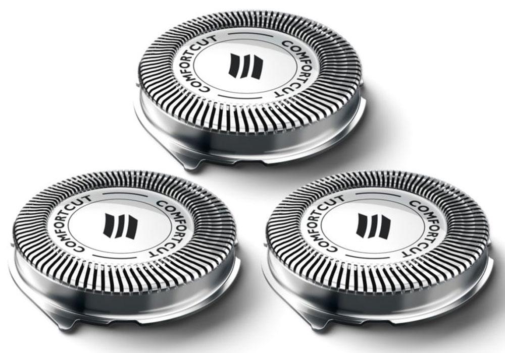 Philips SH30/50 бритвенные головки, 3 штSH30/50Бритвенные головки Philips SH30/50 для бритв серии 3000 и Click&Style. За два года бритвенные головки срезают до 9 миллионов волосков на лице. Заменяйте бритвенные головки,чтобы результат бритья всегда был идеальным.Комфортное сухое бритье благодаря системе лезвий ComfortCut с закругленными краями бритвенных головок. Лезвия легко скользят по коже и защищают ее от порезов и раздражения.Последние модели бритв Philips оснащены индикатором замены, который представляет собой символ бритвенного блока. Этот символ загорается, сигнализируя о необходимости замены бритвенных головок.