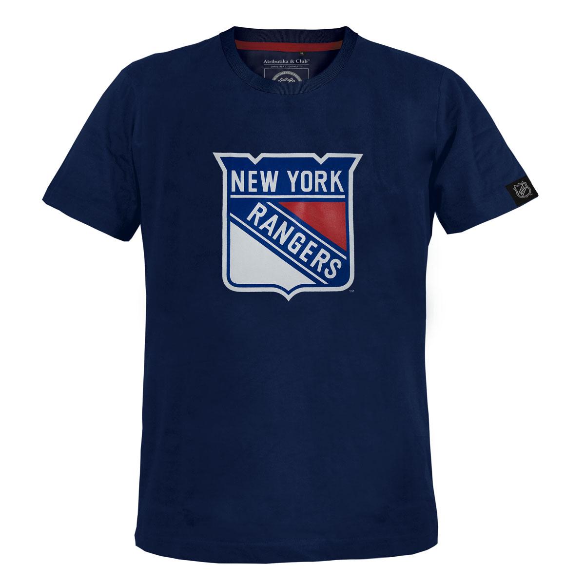 Футболка мужская NHL New York Rangers, цвет: темно-синий. 29290. Размер XS (44)29290Мужская футболка NHL New York Rangers, выполненная из натурального хлопка, порадует любого поклонника знаменитого хоккейного клуба. Материал очень мягкий и приятный на ощупь, не сковывает движения ипозволяет коже дышать. Футболка с короткими рукавами имеет круглый вырез горловины, дополненный трикотажной резинкой.Изделие оформлено термоаппликацией в виде эмблемы хоккейного клуба New York Rangers, а также украшенонебольшой текстильной нашивкой.Такая модель отлично подойдет для повседневной носки и подарит вам комфорт в течение всего дня!