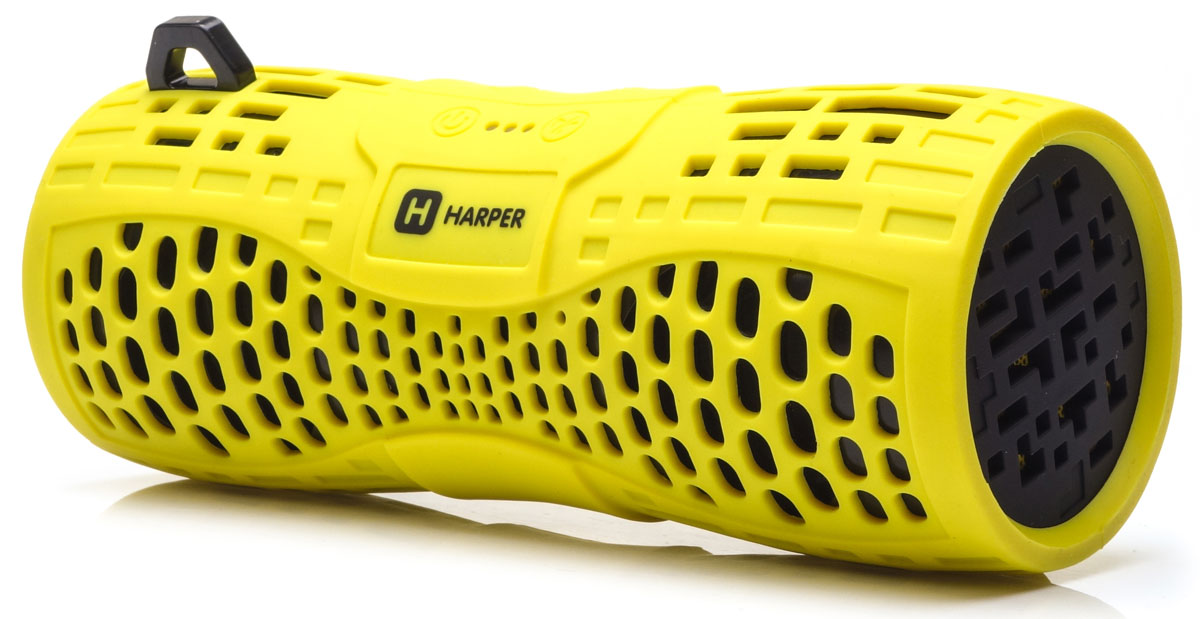 Harper PS-045, Yellow портативная акустическая системаH00001020Harper PS-045 - портативная акустическая система с влагозащищенным корпусом и встроенным микрофоном. Представленная модель поддерживает высокоскоростное беспроводное соединение посредством Bluetooth, что в свою очередь позволяет использовать любые аудиоустройства или прочие девайсы, поддерживающие данную функцию, для воспроизведения звуковых файлов на расстоянии до 10 метров. Данная модель также оснащена входом Micro USB, разъемом AUX, а также степенью защиты IPX6, благодаря чему способна превратиться в маленький музыкальный центр. Обладая компактными размерами колонка без труда поместится в кармане рюкзака или походной сумки.Аккумулятор: 1000 мАчВремя зарядки: 2,5 часаКак выбрать портативную колонку. Статья OZON Гид