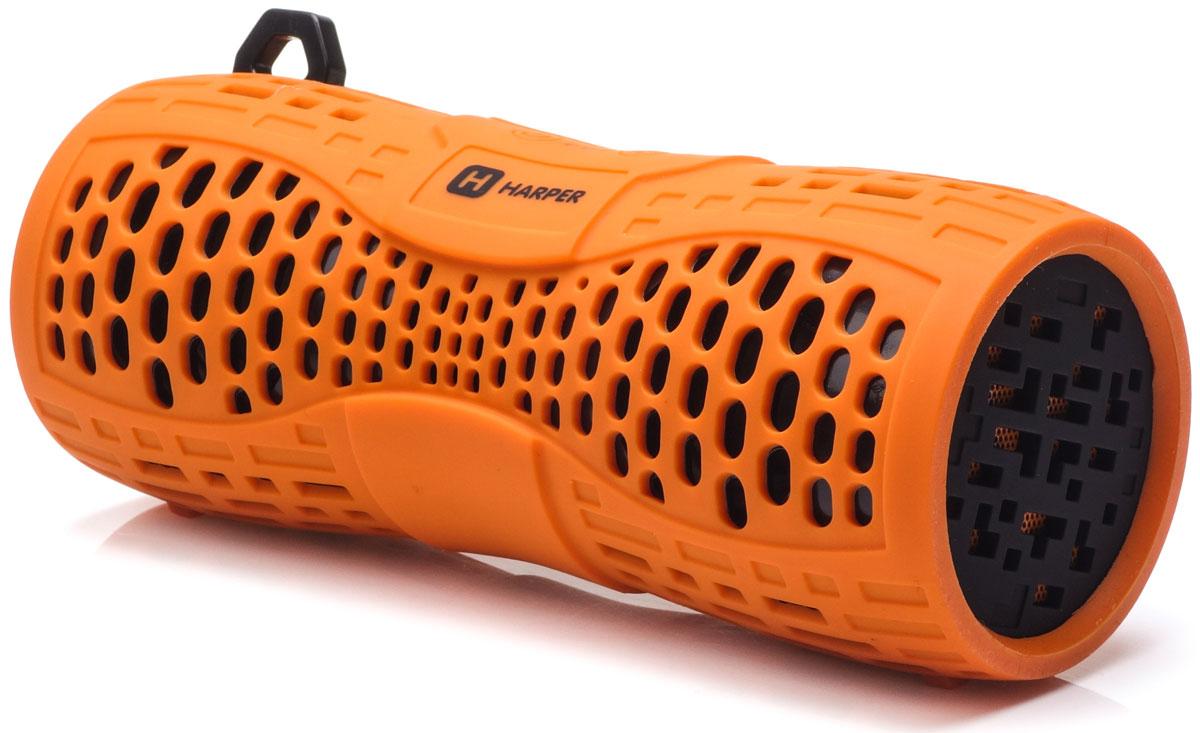 Harper PS-045, Orange портативная акустическая системаH00001021Harper PS-045 - портативная акустическая система с влагозащищенным корпусом и встроенным микрофоном. Представленная модель поддерживает высокоскоростное беспроводное соединение посредством Bluetooth, что в свою очередь позволяет использовать любые аудиоустройства или прочие девайсы, поддерживающие данную функцию, для воспроизведения звуковых файлов на расстоянии до 10 метров. Данная модель также оснащена входом Micro USB, разъемом AUX, а также степенью защиты IPX6, благодаря чему способна превратиться в маленький музыкальный центр. Обладая компактными размерами колонка без труда поместится в кармане рюкзака или походной сумки.Аккумулятор: 1000 мАч Время зарядки: 2,5 часа Как выбрать портативную колонку. Статья OZON Гид
