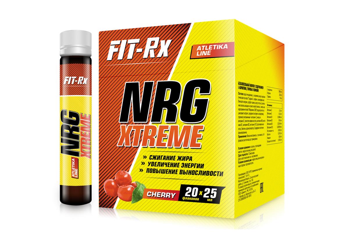 Предтренировочный комплекс FIT-RX NRG Xtreme, вишня, 20 х 25 мл00737FIT-RX NRG Xtreme - это сбалансированный жидкий комплекс широко известных, доказавших свою эффективность ингредиентов для уменьшения жировой ткани тела, повышения выносливости, ментальной концентрации и мотивации к физическим нагрузкам. Совместное применение L-карнитина и кофеина создает эффект, превосходящий применение этих продуктов в отдельности.L-карнитин используется организмом для транспортировки жирных кислот из проблемных зон тела (депо жира) в митохондрии клеток мышц. Там жирные кислоты окисляются и используются как источник энергии, то есть сжигаются. Этот процесс является естественным процессом организма. L-карнитин также стимулирует деятельность иммунной системы, предотвращает тромбозы и болезни сердца.Кофеин - мощный и безопасный стимулятор активности. Он повышает эффективность физической и умственной деятельности, ускоряет реакции, снимает депрессивные и тревожные состояния. Это позволяет тренироваться с большей энергией, с лучшим настроением, расходовать больше калорий. Чистый кофеин ведет к возникновению высокой мотивации и физических возможностей сразу после приема. Присутствие медленного кофеина из гуараны поддерживает бодрое состояние духа и тела на все время тренировки. Такой эффект повышает отдачу от тренировки и ведет к сжиганию большего количества жира. Кофеин также имеет выраженное свойство понижения аппетита.Функции препарата:Повышает выносливость во время тренировокОказывает мощное тонизирующее действиеУменьшает усталость и боль в мышцахАктивизирует физическую и умственную деятельностьУскоряет восстановление мышечной тканиРегулирует кровообращение и кислородный обменСтимулирует ЦНС, сердечнососудистую и иммунную системы.Состав: вода очищенная, L-карнитин (3000 мг), вкусо-ароматическая основа Гуарана (70 мг), кофеин (230 мг), консерванты: бензоат натрия, сорбат калия, загуститель (сочетание смолы акации и ксантановой смолы), смесь сахарозаменителей Мармикс-200 (подсластители