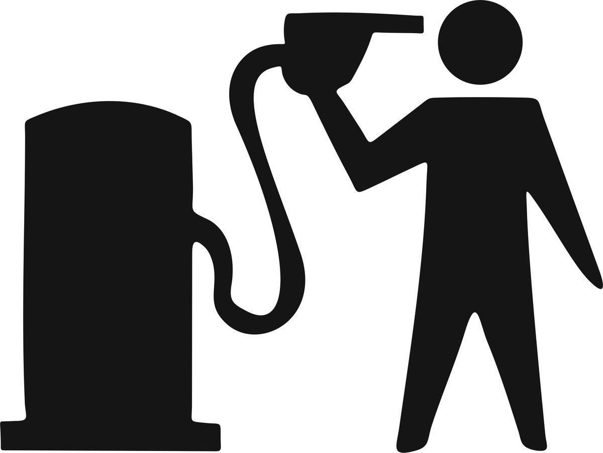 Наклейка автомобильная Оранжевый слоник Бензин, виниловая, цвет: черный наклейка автомобильная оранжевый слоник панда виниловая цвет черный