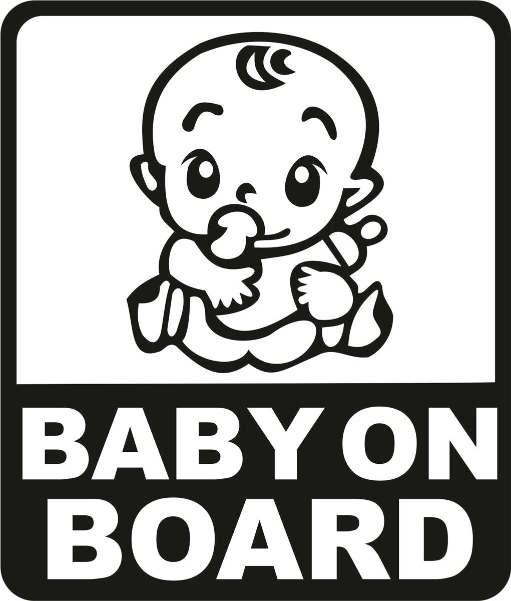 Купить Наклейка автомобильная Оранжевый слоник Baby on Board. Квадрат 2 , виниловая, цвет: черный, Оранжевый Слоник