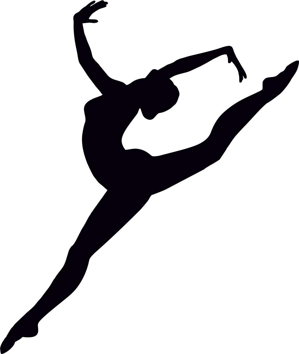 Наклейка автомобильная Оранжевый слоник Балерина, виниловая, цвет: черный