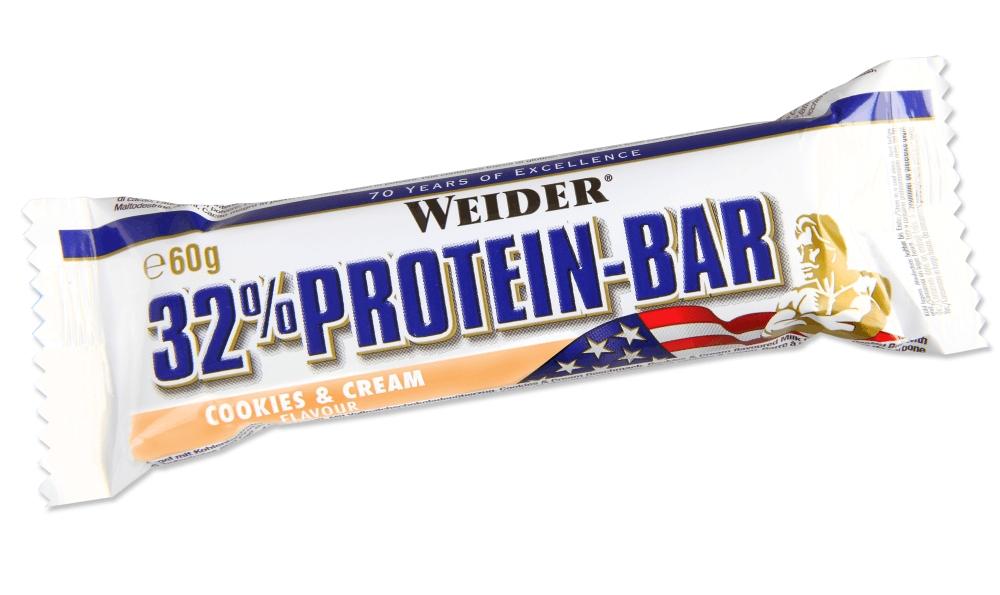 """Батончик протеиновый Weider """"32% Protein-Bar"""", крем, печенье, 60 г"""