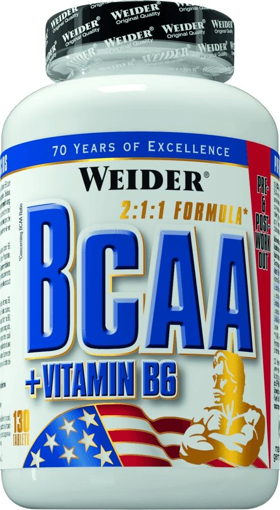 BCAA Weider BCAA 130 tabs31611Мускулатура человека примерно на треть состоит из аминокислот ВСАА! Эти аминокислоты абсолютно необходимы для эффективного наращивания мышц! Этот продукт особенно ценен еще и потому, что организм наиболее быстро может усваивать аминокислоты в свободной форме. L-лейцин, L-изолейцин и L-валин необходимы для этого процесса и поэтому содержатся в высокой дозировке в форме Allfree. Научные данные показывают, что организму необходимо получать энергию не только из углеводов, но и какое-то количество из аминокислот. ВСАА имеют свойство быстрее всех аминокислот превращаться в энергию. Рекомендации по применению:Принимайте по 5 таблеток после тренировки, запивая водой или протеиновым коктейлем. Для предотвращения использования организмом аминокислот собственной мускулатуры для энергетических нужд, целесообразно выпивать по 3 таблетки перед тренировкой, запивая водой.Как повысить эффективность тренировок с помощью спортивного питания? Статья OZON Гид