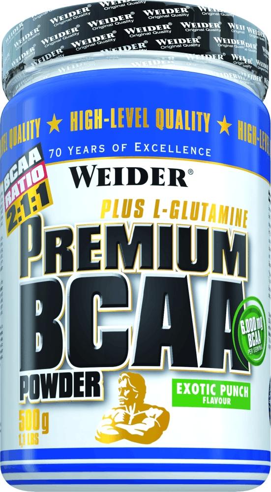 BCAA Weider Premium BCAA Powder, экзотический пунш, 500 г31702Мускулатура человека примерно на треть состоит из аминокислот ВСАА! Эти аминокислоты абсолютно необходимы для эффективного наращивания мышц! Этот продукт особенно ценен еще и потому, что организм наиболее быстро может усваивать аминокислоты в свободной форме. L-лейцин, L-изолейцин и L-валин необходимы для этого процесса и поэтому содержатся в высокой дозировке в свободной форме. Научные данные показывают, что организму необходимо получать энергию не только из углеводов, но и какое-то количество из аминокислот. ВСАА имеют свойство быстрее всех аминокислот превращаться в энергию. Также одна порция Weider Premium BCAA Powder содержит 1500 мг L-глютамина и 6 г аминокислот BCAA.Рекомендации по применению:одну порцию до тренировки.Рекомендации по приготовлению:размешать 10 г порошка (1 столовая ложка) в 200 мл воды. Как повысить эффективность тренировок с помощью спортивного питания? Статья OZON Гид