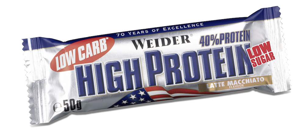 Батончик протеиновый Weider Low Carb High Protein 40%, латте-макиато, 50 г weider gold whey protein ваниль пакет пакет 500г