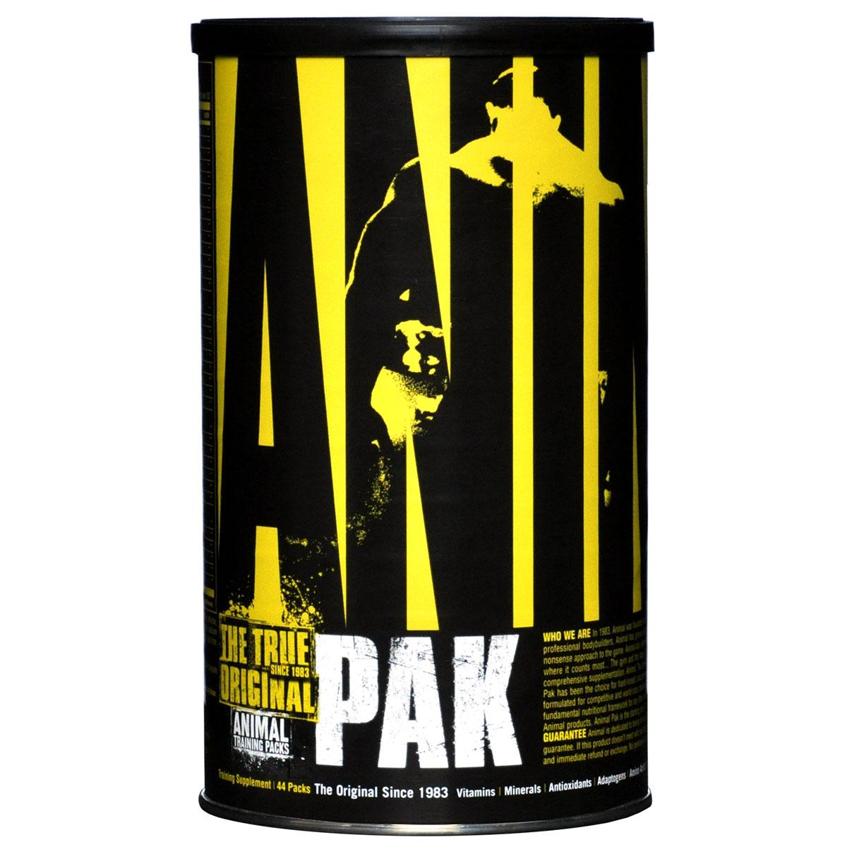 Витаминно-минеральные комплексы Animal Pak, 44 пакетикаU3011Animal Pak - это уникальные разработки в области дополнения питания для спортсменов. Вам не нужно теряться в выборе кучи всевозможных препаратов. В нем есть все, что вам нужно! Universal Animal Pak - это все витамины в необходимых количествах! Это уникальный минеральный комплекс, содержащий 10 самых необходимых минералов. Человеческому организму требуются незаменимые жирные кислоты. Они есть в данном препарате. Уникальное сочетание веществ-оптимизаторов производительности позволяют мобилизовать и увеличить силу и выносливость организма, способствуют повышению результатов на тренировках и восстановления после них. L-Аргинин, содержащийся в количестве 2 г на порцию, стимулирует выработку гормона роста, что способствует уменьшению жировых отложений и росту мышечной массы. Треонин способствует росту скелетной мускулатуры. Лейцин и валин защищают мышечные ткани и являются источниками энергии, а также способствуют восстановлению костей, кожи, мышц. Входящие в состав Animal Pak пищеварительные ферменты помогают усвоить максимум питательных веществ! За тридцать лет существования Animal Pak снискал славу лучшего из лучших, культовых препаратов для спортсменов. Он действительно уникальный продукт для достижения результата! Рекомендации по применению: принимайте один вместе с завтраком или другим приемом пищи, обильно запивая водой. Во время интенсивных тренировок и перед выступлениями принимайте 2 пакетика. Товар не является лекарственным средством. Товар не рекомендован для лиц младше 18 лет. Могут быть противопоказания и следует предварительно проконсультироваться со специалистом. Как повысить эффективность тренировок с помощью спортивного питания? Статья OZON Гид