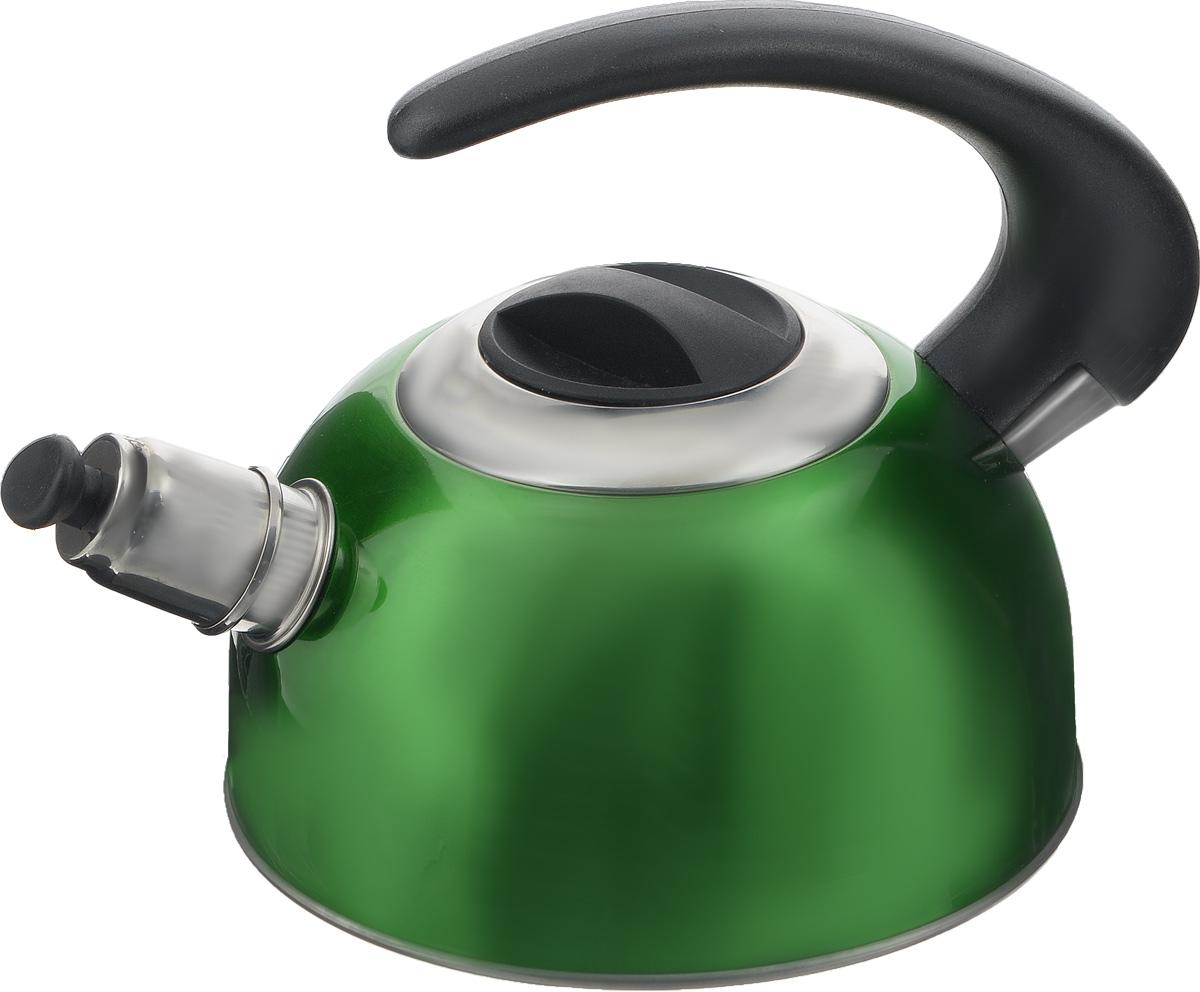 Чайник Calve, со свистком, цвет: зеленый, 1,8 лCL-1459_зеленыйЧайник Calve изготовлен из высококачественной нержавеющей стали с термоаккумулирующим дном. Нержавеющая сталь обладает высокой устойчивостью к коррозии, не вступает в реакцию с холодными и горячими продуктами и полностью сохраняет их вкусовые качества. Особая конструкция дна способствует высокой теплопроводности и равномерному распределению тепла. Чайник оснащен бакелитовой удобной ручкой. Носик чайника имеет откидной свисток, звуковой сигнал которого подскажет, когда закипит вода. Подходит для всех типов плит, включая индукционные. Можно мыть в посудомоечной машине.Диаметр чайника (по верхнему краю): 10,5 см.Высота чайника (без учета ручки и крышки): 10 см.Высота чайника (с учетом ручки): 18 см.