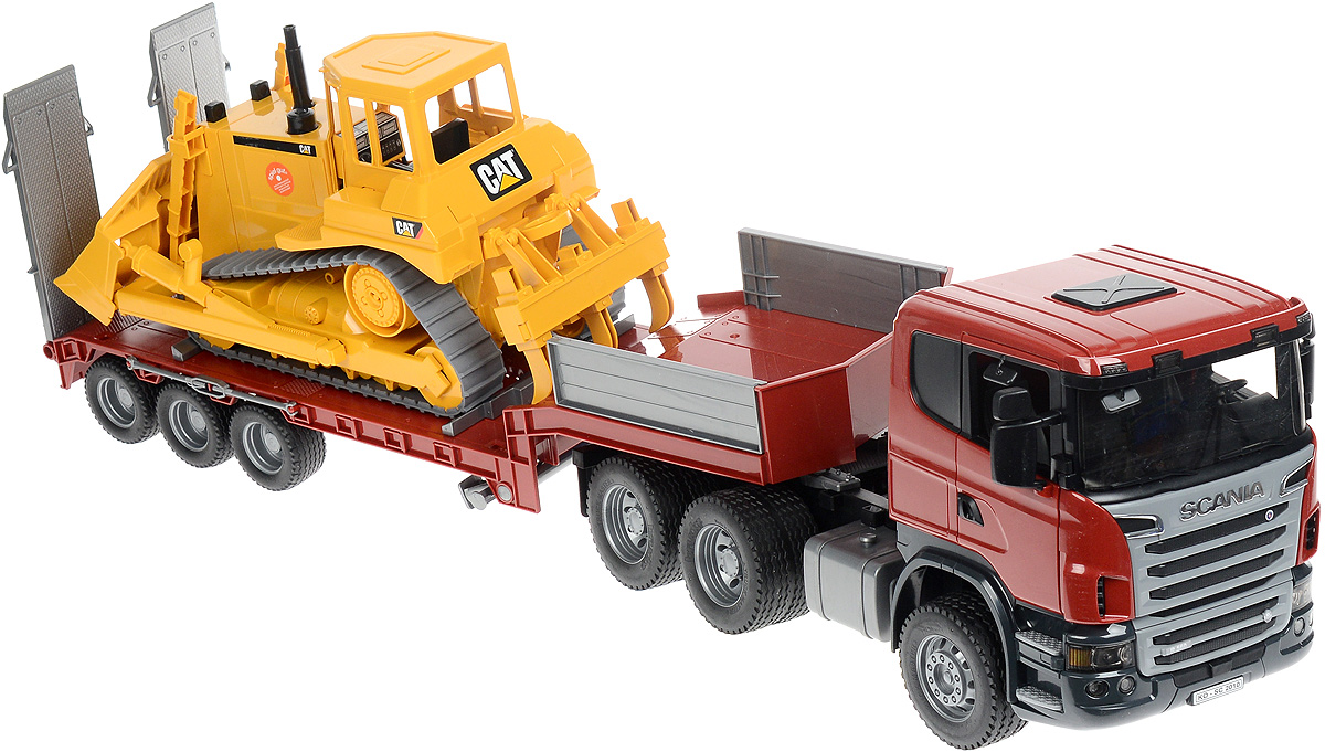 Bruder Тягач с прицепом–платформой Scania и гусеничным бульдозером Cat куплю седельный тягач в сцепке б у