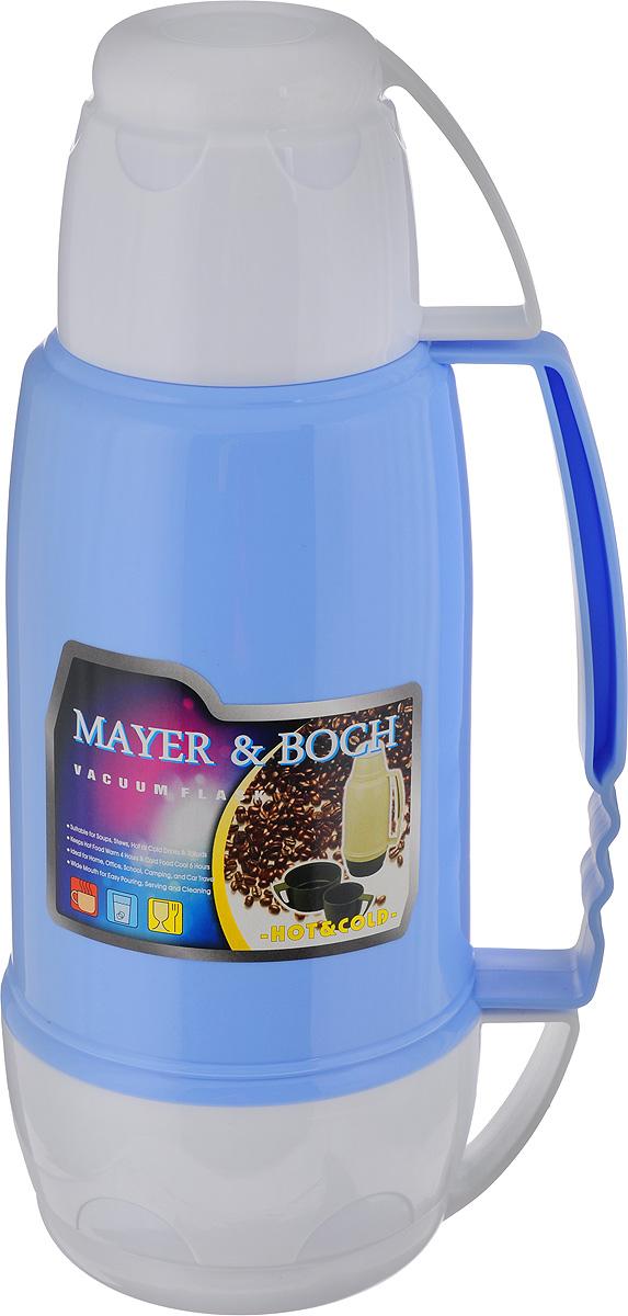 Термос Mayer & Boch, цвет: белый, голубой, 1,8 л. 2164521645Термос Mayer & Boch пригодится в любой ситуации: будь то экстремальный поход, пикник или поездка. Корпус термоса, выполненный из цветного пищевого пластика. Для удобства переноски предусмотрена ручка. Колба термоса изготовлена из стекла, которое является экологически чистым материалом и прекрасно держит температуру. Удобный носик позволит аккуратно налить напиток в съемную чашу.Термос Mayer & Boch - это идеальный вариант для большой компании и дальней поездки. В него поместится большой объем жидкости, и вы в любое время сможете насладиться любимыми напитками.Диаметр термоса (по верхнему краю): 5,5 см.Высота термоса (без учета крышки): 33,5 см.Диаметр основания термоса: 10 см.Диаметр чаш (по верхнему краю): 9,5 см; 14 см.Высота чаш: 8,5 см; 8 см.