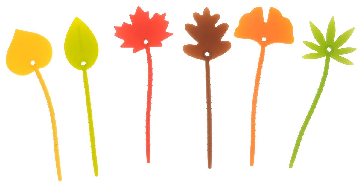 Маркеры для бокалов Tescoma Листья, 6 шт308830Маркеры Tescoma Листья, изготовленные из первоклассного силикона, прекрасно подходят для того, чтобы отличать кружки и чашки. Выбранный лист проденьте через ручку кружки и слегка затяните.Можно мыть в посудомоечной машине.Размер маркера: 9 х 3 х 0,2 см.