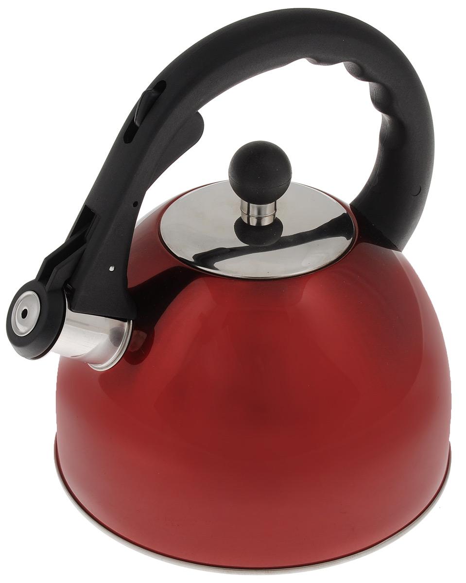 Чайник Mayer & Boch, со свистком, цвет: красный, 2,5 л23198Чайник со свистком Mayer & Boch изготовлен из высококачественной нержавеющей стали с трехслойным термоаккумулирующим дном, которое позволяет быстро распределять и долго удерживать тепло. Носик чайника оснащен откидным свистком, звуковой сигнал которого подскажет, когда закипит вода. Свисток открывается нажатием кнопки на ручке. Чайник оснащен черной пластиковой ручкой, выполненной из термостойкого нейлона. Чайник Mayer & Boch - качественное исполнение и стильное решение для вашей кухни. Подходит для использования на всех типах плит, кроме индукционной. Также изделие можно мыть в посудомоечной машине.Высота чайника (без учета ручки и крышки): 13,5 см.Диаметр основания чайника: 19 см.Диаметр чайника (по верхнему краю): 9 см.
