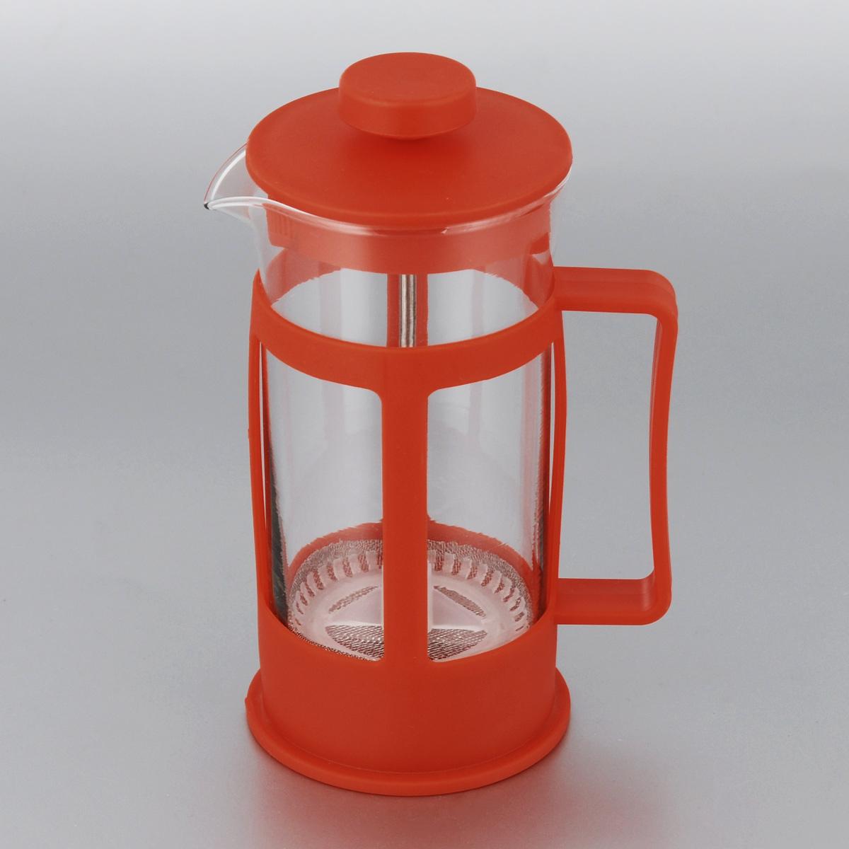 Кофейник МФК-профит, цвет: красный, 300 мл300B-1Френч-пресс МФК-профит поможет приготовитьвкусный и ароматный чай или кофе. Корпусвыполнен из высококачественного термостойкогопластика, а колба - из жаропрочногоборосиликатного стекла. Чайник снабжен фильтромиз метала с пластиковым элементом и удобнойручкой. Не рекомендуется использовать впосудомоечной машине и в микроволновой печи. Диаметр (по верхнему краю): 7 см.Высота чайника (без учета крышки): 14 см.