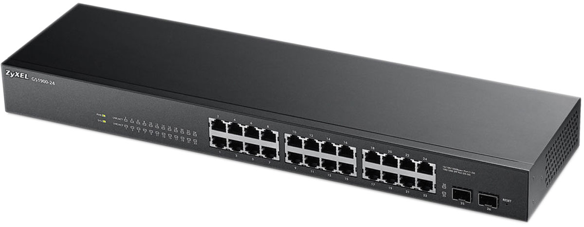 Zyxel GS1900-24 коммутатор (24 порта)GS1900-24Серия гигабитных коммутаторов 1900 представлена моделями на 8, 16, 24 и 48 портов для установки на уровне доступав сетях небольших предприятий с целью подключения персональных компьютеров и других сетевых устройств.Модели с поддержкой PoE обеспечивают одновременную передачу данных и питания на оконечные сетевые устройства, такие как видеокамеры, IP-телефоны или точки доступа Wi-Fi. Все модели отвечают современным требованиям стандарта энергосбережения IEEE802.3az.Коммутаторы серии 1900 относятся к сегменту интеллектуальных коммутаторов. Мастер первоначальной настройки находится в веб-интерфейсе для упрощенной настройки сетевых параметров. Администрирование коммутаторов доступно по протоколу SNMP, загрузка обновленных микропрограмм может быть осуществлена по TFTP, а контроль нештатных ситуаций в работе устройства– по журналу событий Syslog. Функция LLDP позволяет коммутаторам оповещать локальную сеть о своем существовании и характеристиках, а также собирать такие же оповещения, поступающие от соседних коммутаторов.Поддерживаемый набор функций обеспечивает возможность развернуть небольшую гигабитную сеть в офисе с приоритетной передачей пакетной телефонии и организацией видеоконференций.Матрица коммутации: 52 Гбит/секСкорость коммутации: 39 кадров/секБуфер данных:525 KбайтОбъем памяти flash: 16 MБМаксимальный размер кадра Jumbo frame: 9216Размер таблицы МАС адресов: 8 KПоддержка стандартов: Auto MDI/MDIX, Jumbo Frame, IEEE 802.1p (Priority tags), IEEE 802.1q (VLAN), IEEE 802.1d (Spanning Tree), IEEE 802.1s (Multiple Spanning Tree)