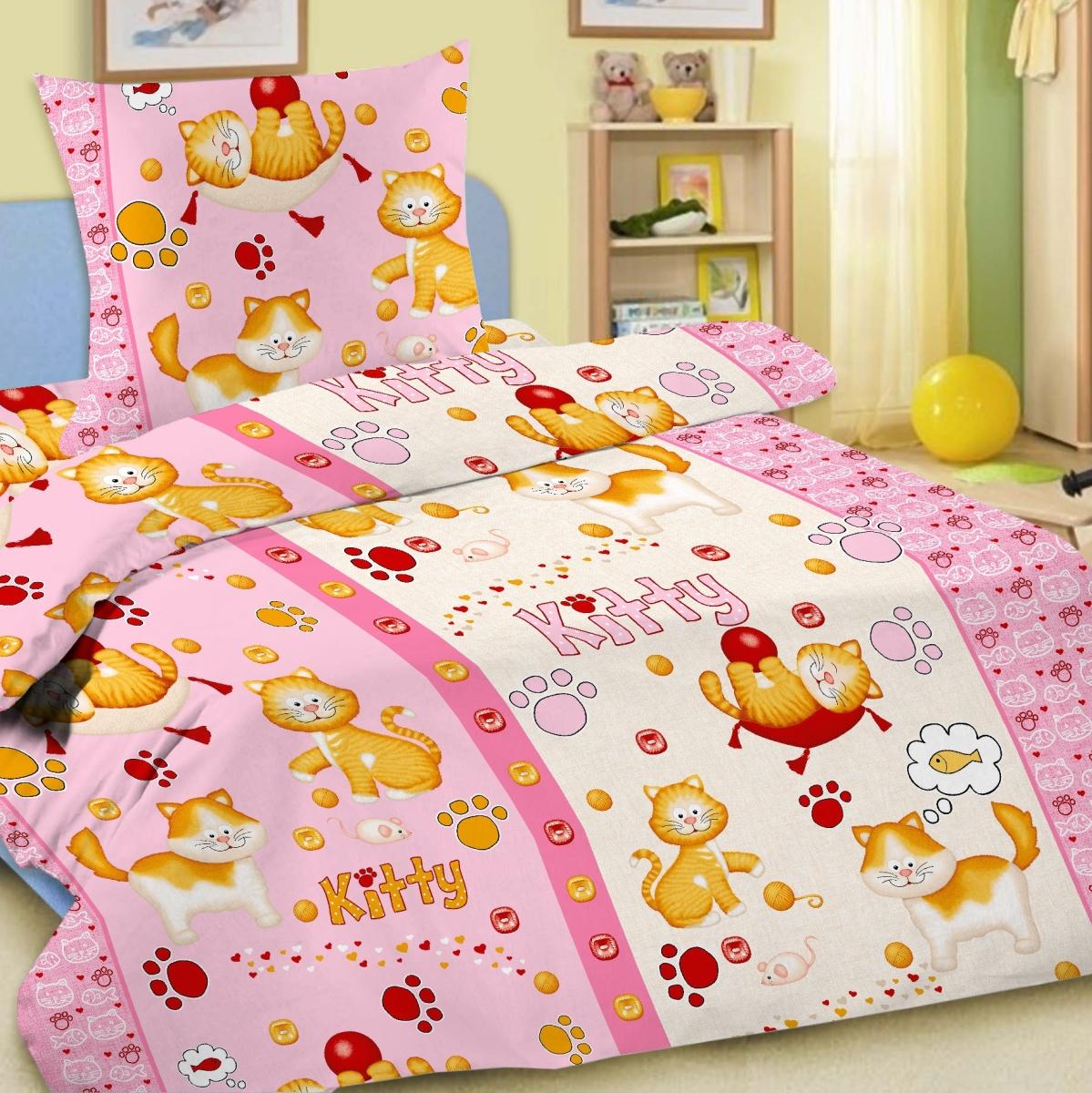 где купить Letto Комплект детского постельного белья Китти цвет розовый по лучшей цене
