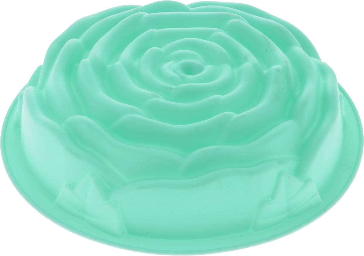Форма для выпечки Mayer & Boch Роза, силиконовая, цвет: мятный, диаметр 25 см21974_мятныйФорма для выпечки Mayer & Boch Роза, изготовленная из высококачественного силикона, выполнена в виде бутона розочки. Стенки формы легко гнутся, что позволяет легко достать готовую выпечку и сохранить аккуратный внешний вид блюда.Силикон - материал, который выдерживает температуру от -40°С до +230°С. Изделия из силикона очень удобны в использовании: пища в них не пригорает и не прилипает к стенкам, форма легко моется. Изделие обладает эластичными свойствами: складывается без изломов, восстанавливает свою первоначальную форму. Порадуйте своих родных и близких любимой выпечкой в необычном исполнении. Подходит для приготовления в микроволновой печи и духовом шкафу при нагревании до +230°С; для замораживания до -40°.Можно мыть в посудомоечной машине.Внутренний размер формы: 21,5 х 21,5 х 7 см.