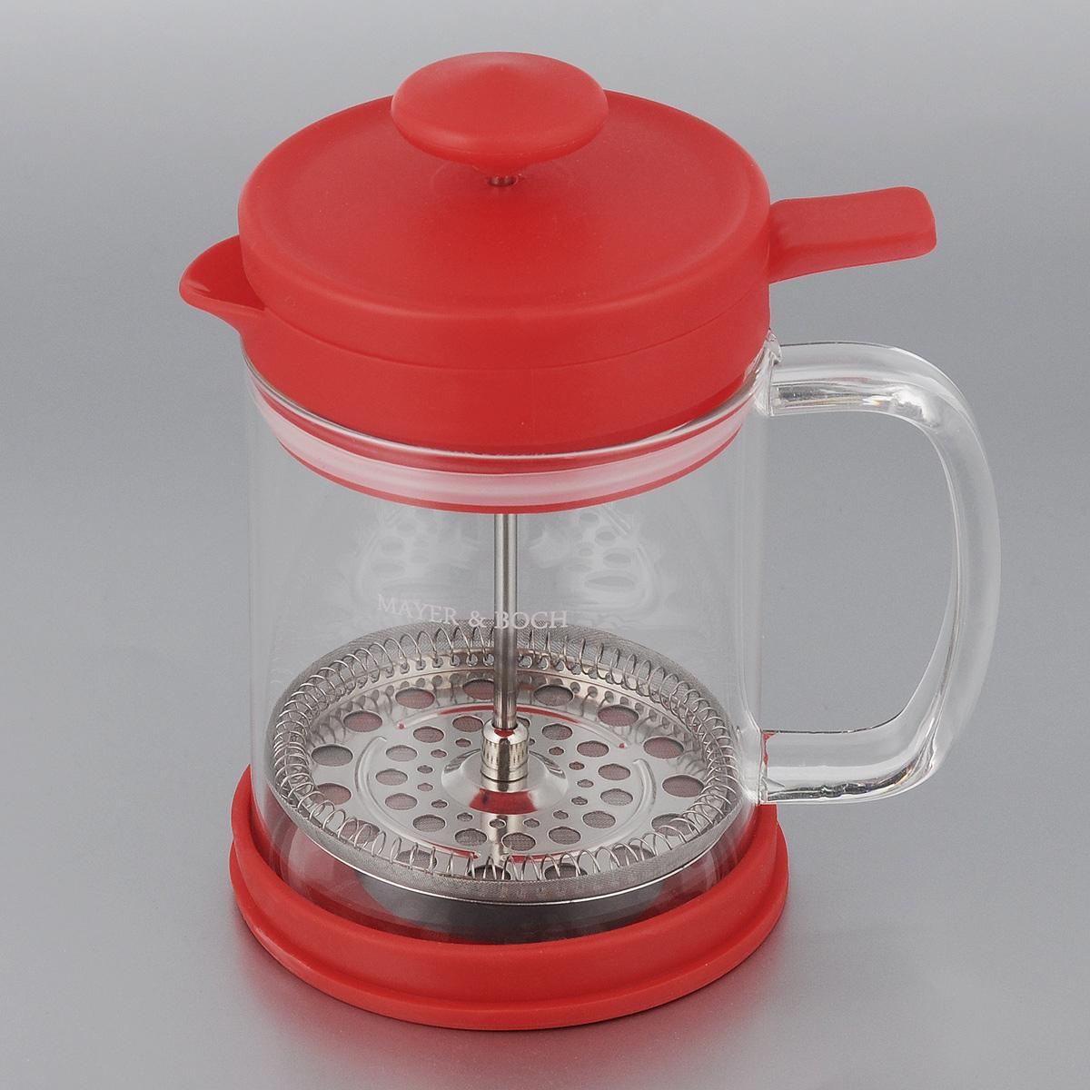 Френч-пресс Mayer & Boch, цвет: красный, прозрачный, 600 мл. 2126321263_красныйФренч-пресс Mayer & Boch позволит быстро и просто приготовить свежий и ароматный кофе или чай. Цветовая гамма подойдет даже для самого яркого интерьера. Френч-пресс изготовлен из высокотехнологичных материалов на современном оборудовании:- корпус изготовлен из высококачественного жаропрочного стекла, устойчивого к окрашиванию и царапинам;- фильтр-поршень из нержавеющей стали выполнен по технологии press-up для обеспечения равномерной циркуляции воды;- яркая подставка из инертного силикона препятствует скольжению френч-пресса.Практичный и стильный дизайн френч-пресса Mayer & Boch полностью соответствует последним модным тенденциям в создании предметов бытового назначения.