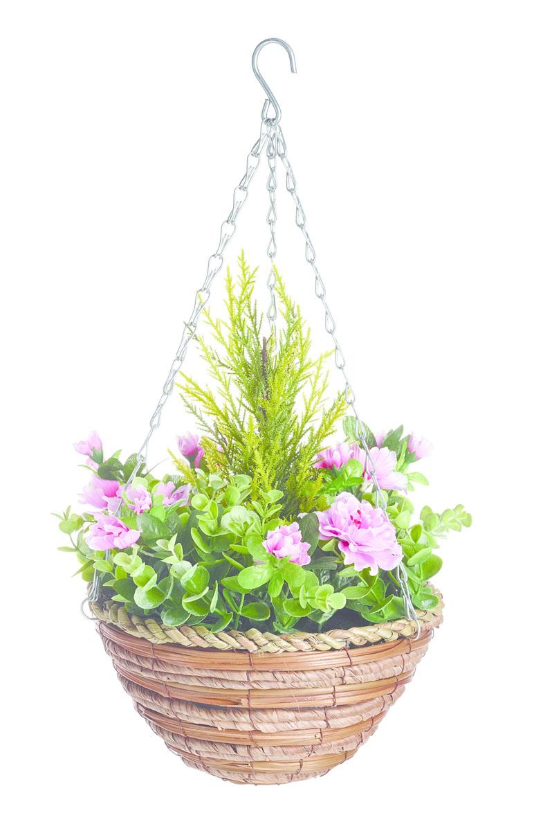 Корзина подвесная Gardman с искуственными растениями (азалия, эвкалипт) 25см02832