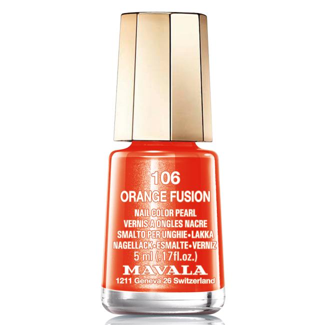 Mavala Лак для ногтей Оранжевая лава/Orange Fusion , Тон 106, 5 млA11100Лаки для ногтей Mavala представлены классическими и ультрамодными оттенками. Они пропускают воздух даже через 3-4 слоя, давая возможность ногтям дышать. Специально разработанный состав лаков позволяет им оставаться свежими и насыщенными долгое время.Лаки не содержат толуол, формальдегид, камфору, дибутил фталат, канифоль и добавленный никель.