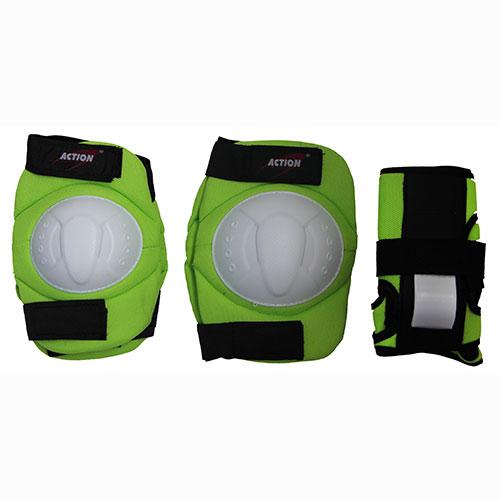 Комплект защиты Action, для катания на роликах, цвет: салатовый, белый, черный. Размер M. PWM-32628263316Комплект защиты Action для катания на роликах состоит из 2 наколенников, 2 налокотников и 2 наладонников. Основные элементы комплекта выполнены из нейлона, защитные накладки - их ПВХ.Наиболее распространенной является тройная защита – наколенники, налокотники и наладонники со специальными пластинами на запястьях. Такой набор защиты для катания на роликовых коньках считается оптимальным, предохраняя от травм самые уязвимые места при катании. Размер: M (соответствует размерам коньков 34-40).