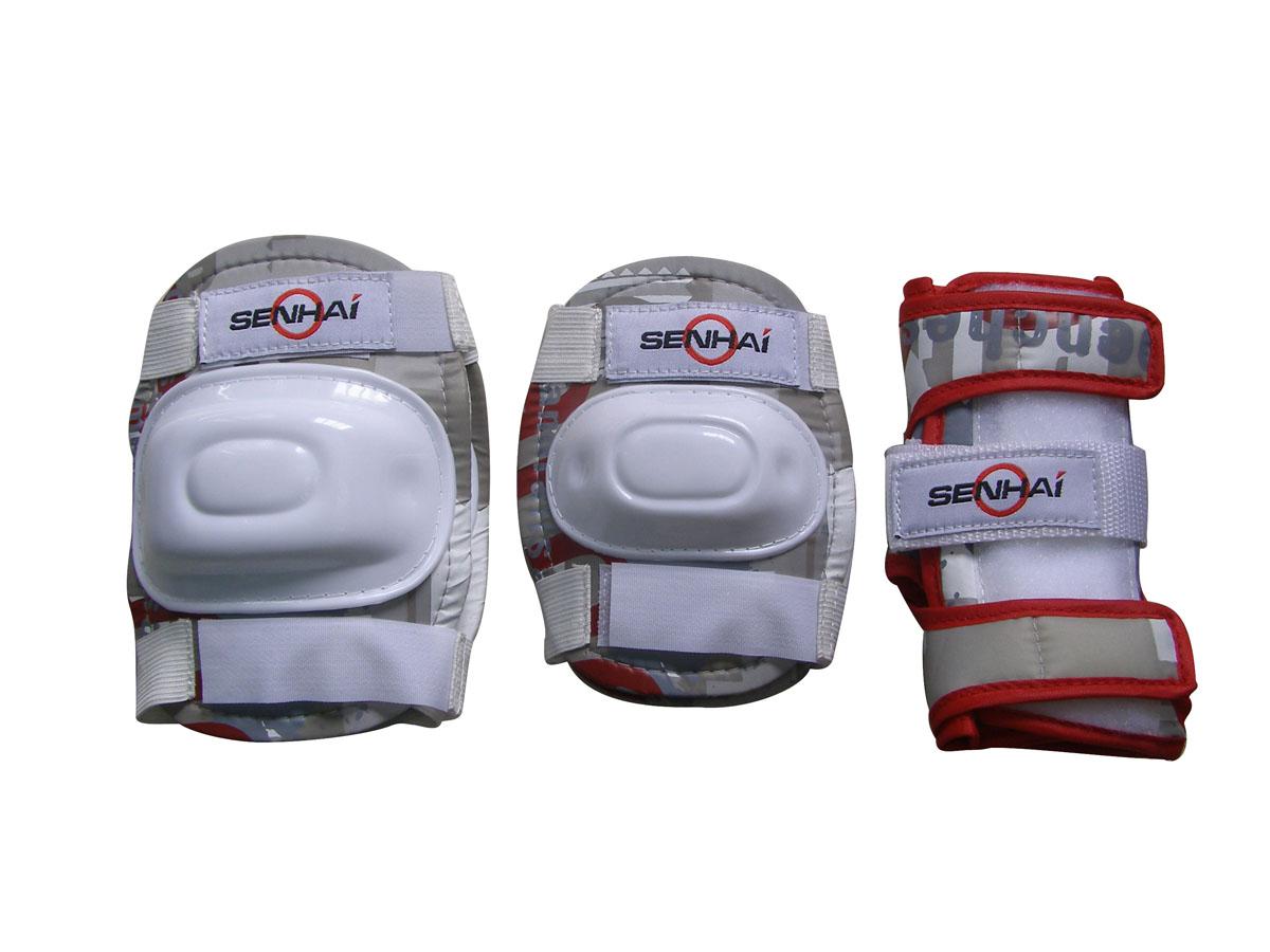 """Комплект защиты """"Action"""", для катания на роликах, цвет: бежевый, красный, белый. Размер L. PWM-302"""