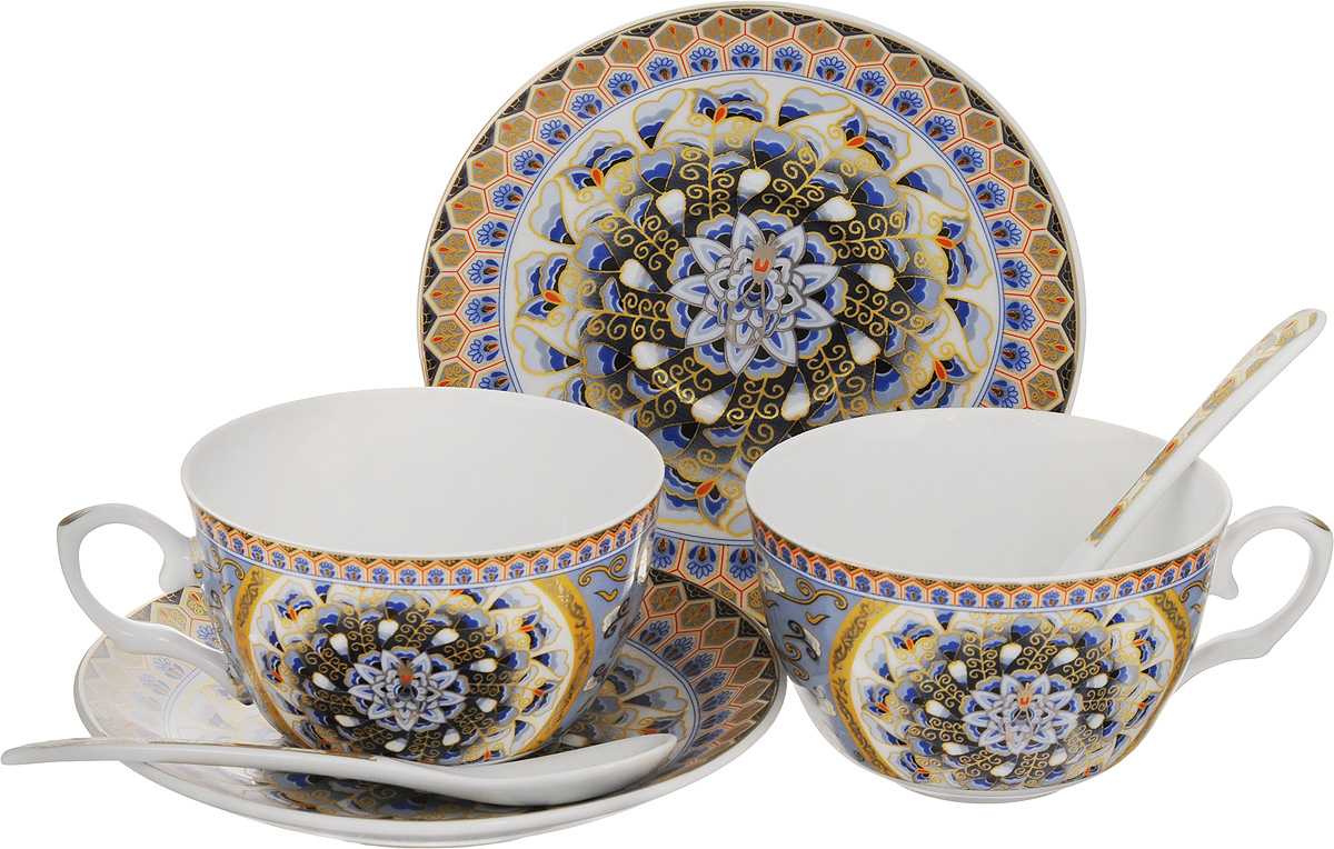 Набор чайных пар Elan Gallery Калейдоскоп, с ложками, 6 предметов730423Набор чайных пар Elan Gallery Калейдоскоп состоит из 2 чашек, 2 блюдец и 2 ложек,изготовленных из высококачественной керамики. Предметы набора оформлены изящным узорчатым рисунком. Набор чайных пар Elan Gallery Калейдоскоп украсит ваш кухонный стол, а такжестанет замечательным подарком друзьям и близким.Объем чашек: 250 мл.Диаметр чашек по верхнему краю: 9,5 см.Высота чашек: 6 см.Диаметр блюдец: 14 см.Длина ложек: 13 см.