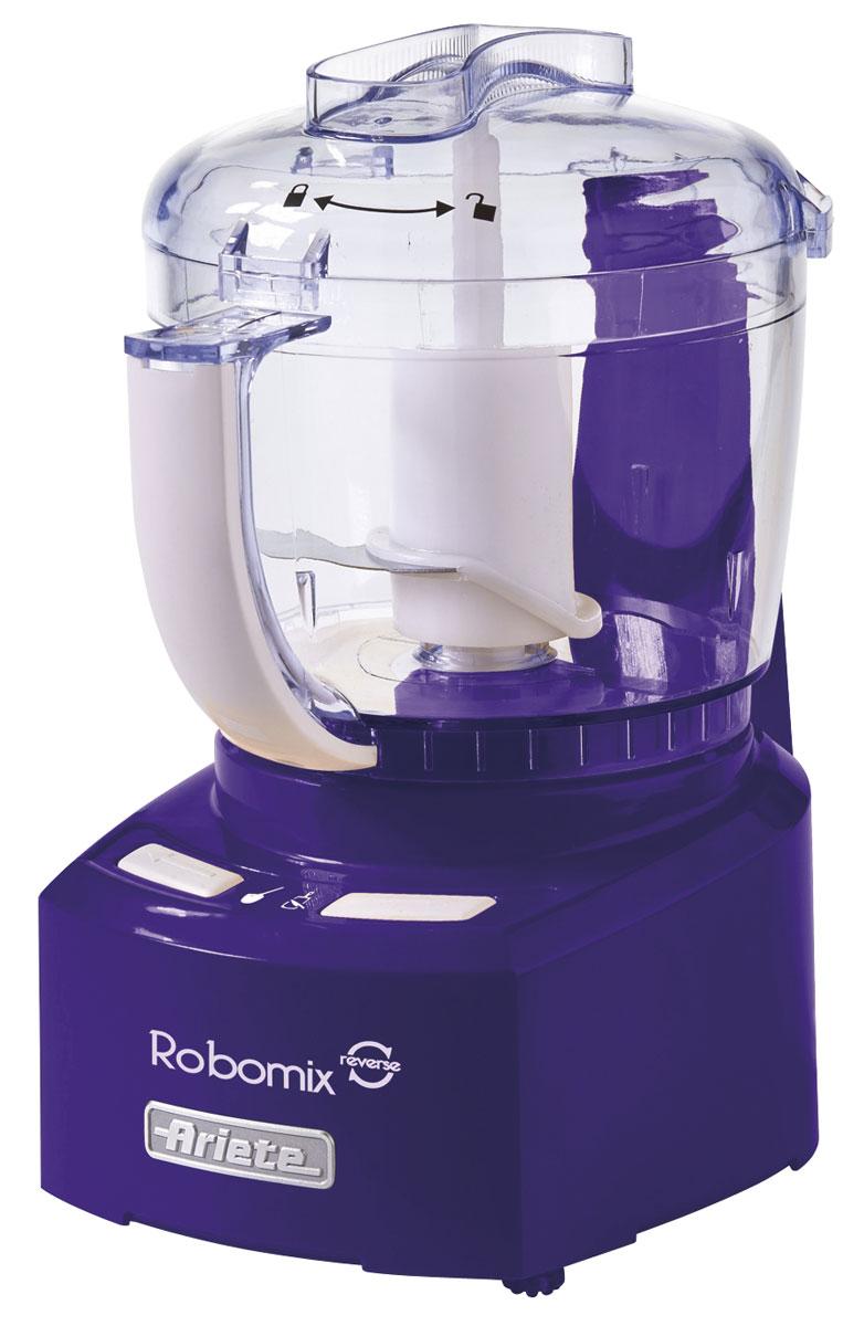 Ariete 1767 Robomix Reverce, Purple кухонный комбайн1767/01Компактный и функциональный кухонный комбайн Ariete 1767 Robomix Reverce станет вашим идеальныйпомощником на кухне на все случаи жизни. Прибор оснащен мощным мотором и сменными насадками, благодарячему позволяет эффективно измельчать и смешивать различные типы продуктов. Также кухонный комбайн имеет функцию реверса.В комплектацию входят: Ножи для измельчения Насадка-ограничитель для измельчения малого количества продуктов Насадка-диск для взбивания