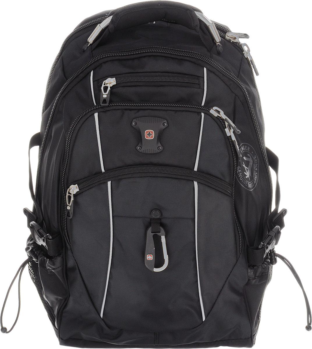 Рюкзак Wenger, цвет: черный, серый, 35 см х 23 см х 48 см, 39 л6677204410Рюкзак Wenger - это самодостаточный, многофункциональный и надежный спутник своего владельца, как и знаменитый швейцарский нож! Благодаря многофункциональности рюкзака, вы можете легко организовать свои вещи, отправив ключи, мобильный телефон и еще тысячу мелочей. Рюкзаки и сумки Wenger - это прежде всего современные материалы и фурнитура от надежных поставщиков и швейцарский контроль качества, благодаря которому репутация компании была и остается столь высокой. Продуманная конструкция и современные технологии проявляются главным образом в потрясающей надежности рюкзаков и сумок Wenger. А ведь надежность - самое важное качество и в амуниции, и в людях! Особенности рюкзака:Отделение подходит для большинства ноутбуков с диагональю экрана 15 дюймов.Внутренний карман для МР3-плеера с внешним выходом для наушников.Эргономичные плечевые ремни анатомической формы с пропускающей воздух набивной подкладкой для комфортного ношения рюкзака. Система циркуляции воздуха AIRFLOW для обеспечения максимального комфорта и поддержки спины.Эластичная петля на плечевом ремне позволяет хранить и легко извлекать солнцезащитные очки.Карман из эластичной растягивающейся сетки на плечевом ремне подходит для безопасного хранения большинства мобильных устройств. Удобное расположение обеспечивает быстрый доступ к телефону.Внешние карманы из эластичной сетки подходят для хранения бутылок любого размера.Внутренний карман-органайзер включает в себя съемную ключницу и многочисленные раздельные кармашки для пишущих принадлежностей, мобильного телефона и компакт-дисков.По всем вопросам гарантийного и постгарантийного обслуживания рюкзаков, чемоданов, спортивных и кожаных сумок, а также портмоне марок Wenger и SwissGear вы можете обратиться в сервис-центр, расположенный по адресу: г. Москва, Саввинская набережная, д.3. Тел: (495) 788-39-96, (499) 248-56-56, ежедневно с 9:00 до 21:00. Подробные условия гарантийного обслуживания пр