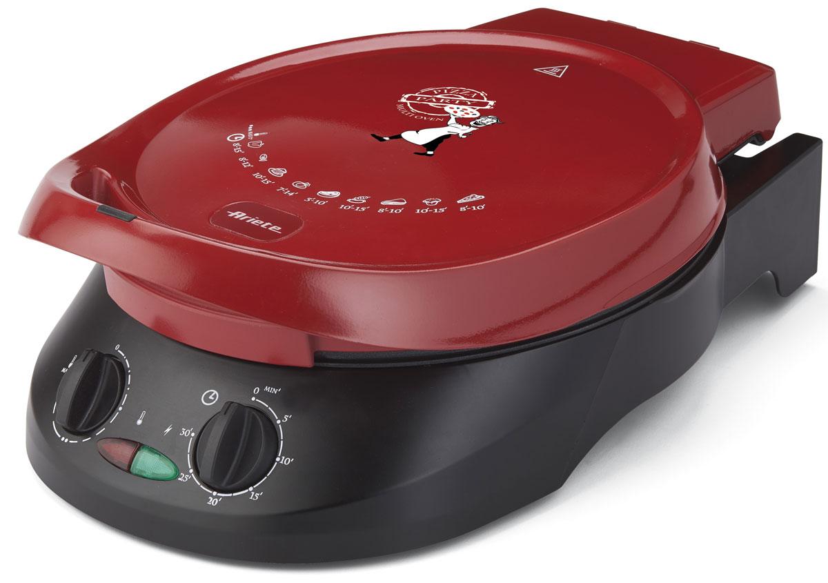 Ariete 908 da Gennaro Pizza прибор для приготовления пиццы908Ariete 908 da Gennaro Pizza - мультифункциональная электросковорода с антипригарным покрытием, которую вы можете использовать как для приготовления пиццы, так и пирогов, и в качестве гриля с раскрытием на 180°С, а также для приготовления блинов. Мощность устройства составляет 1800 Вт, есть возможность регулировки температуры и времени приготовления. Максимальная температура составляет 230°С, а диаметр сковороды равен 30 см.