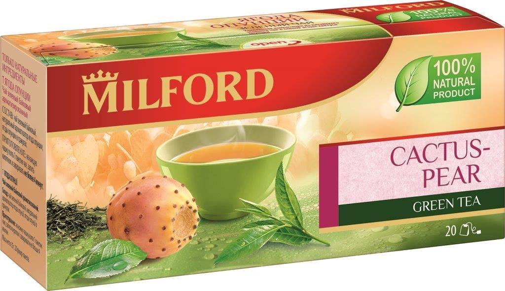 Milford Ягода опунции зеленый чай в пакетиках, 20 шт milford чай зеленый с мятой в пакетиках 20 шт