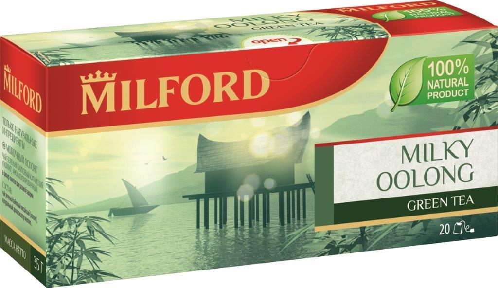 Milford Молочный оолонг зеленый чай в пакетиках, 20 штбая445рMilford Молочный оолонг - настоящий китайский полуферментированный чай. Он приобретает все большую популярность в России. И это неудивительно. Молочный Оолонг не просто очень вкусный, но и полезный чай.