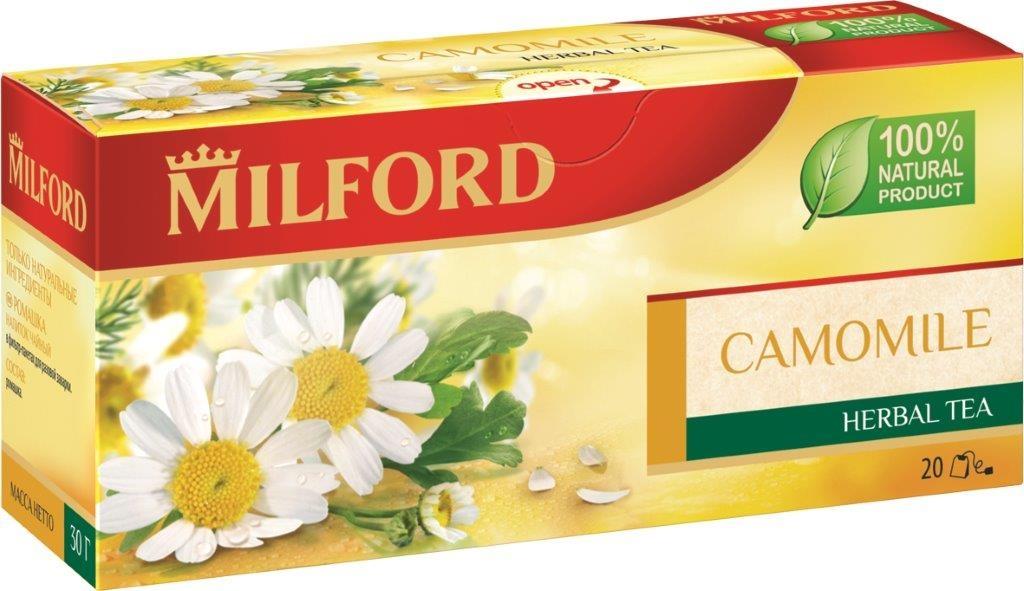 Milford Ромашка травяной чай в пакетиках, 20 штбая112рНатуральный чай Milford Ромашка славится своим успокаивающим эффектом и общеукрепляющим действием. Чай с ромашкой должен быть в каждом доме, потому что ромашка успокаивает, снимает боль, укрепляет силы, способствует крепкому и спокойному сну. Золотистый напиток имеет приятный легкий вкус и нежный аромат летнего луга. Не содержит кофеин. Чай с ромашкой хорошо сочетается с медом.