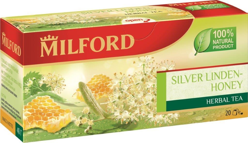 Milford Серебристая липа-Мед травяной чай в пакетиках, 20 шт milford чай зеленый с мятой в пакетиках 20 шт