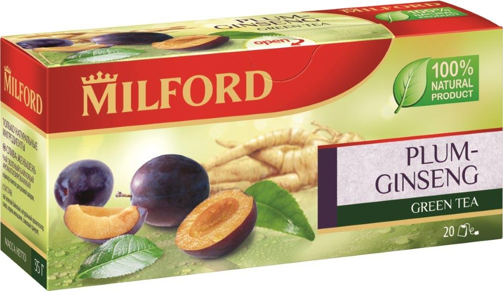 Milford Слива-Женьшень зеленый чай в пакетиках, 20 шт milford чай зеленый с мятой в пакетиках 20 шт