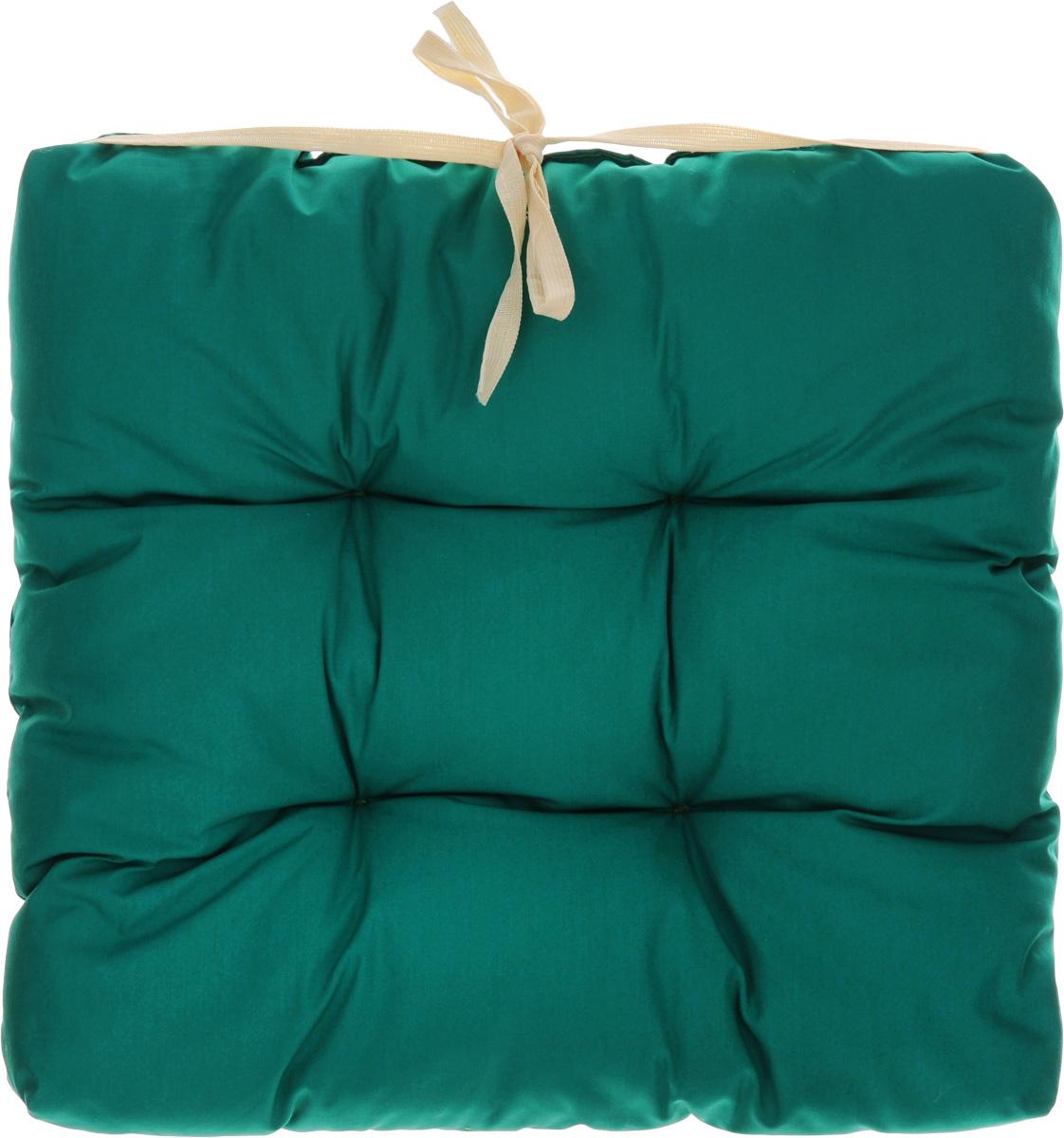 Подушка на стул Eva, объемная, цвет: зеленый, 40 х 40 смЕ064_зеленыйПодушка Eva, изготовленная из хлопка, прослужит вам не один десяток лет. Внутри - мягкий наполнитель из полиэстера. Стежка надежно удерживает наполнитель внутри и не позволяет ему скатываться. Подушка легко крепится на стул с помощью завязок. Правильно сидеть - значит сохранить здоровье на долгие годы. Жесткие сидения подвергают наше здоровье опасности. Подушка с наполнителем из полиэстера поможет предотвратить многие беды, которыми грозит сидячий образ жизни.