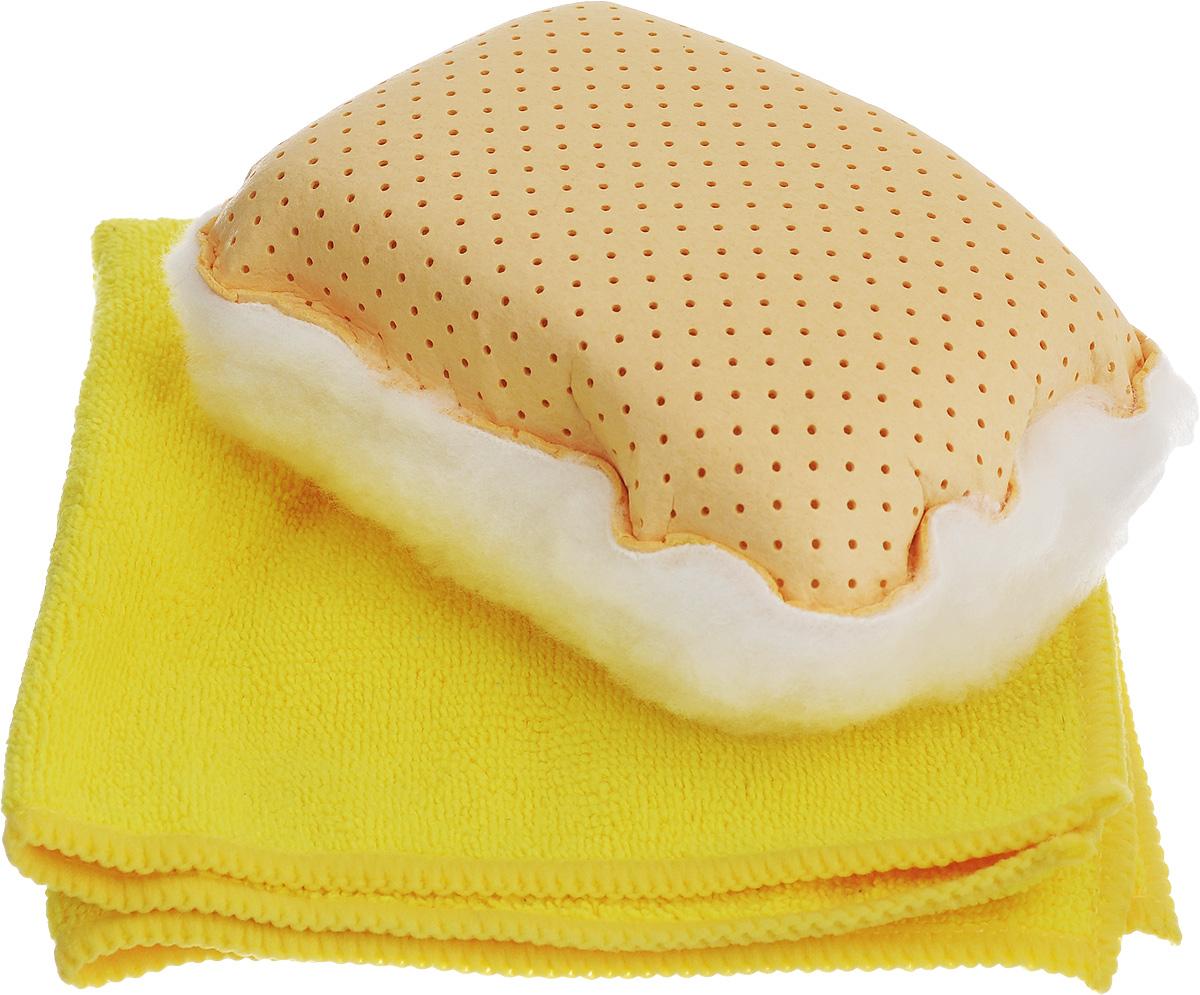 Набор для мытья и полировки автомобиля Pingo, цвет: желтый, 2 предмета5820_желтыйНабор для мытья и полировки автомобиля Pingo состоит из универсальной губки с мехом и салфетки из микрофибры. Универсальная губка с мехом предназначена для удаления влаги или конденсации с запотевших стекол. Меховая сторона губки может применяться для нанесения полироли на кузов автомобиля. Салфетка из микрофибры предназначена для полировки кузова автомобиля, для чистки лобового стекла, пластика и хрома. Может быть использована без химических средств, отлично впитывает воду, пыль и грязь. Сильно загрязненную салфетку промыть в теплой воде. При стирке не использовать отбеливатель и смягчающие средства, не гладить.Состав губки: 80% вискоза, 20% полипропилен, мех, полиэстер, пенополиуретан.Состав салфетки: 70% полиэстер, 30% полиамид.Размер губки: 13 х 9 х 5 см.Размер салфетки: 32 х 32 см.