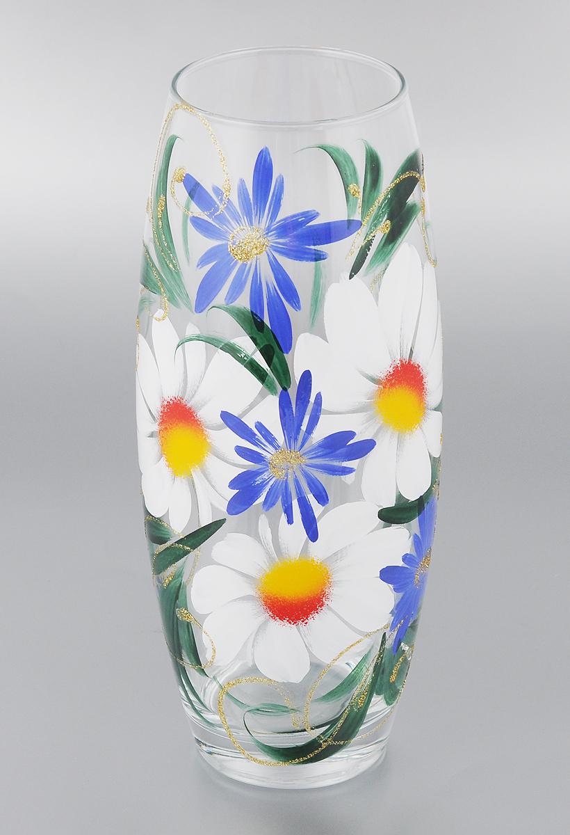Ваза Мусатов Ромашка с васильками, высота 26,3. 966-25k966-25кВаза Мусатов Ромашка с васильками выполнена из высококачественного натрий-кальций-силикатного стекла. Изделие имеет изысканный внешний вид и декорировано художественной росписью. Такая ваза станет ярким украшением интерьера и прекрасным подарком к любому случаю. Диаметр вазы (по верхнему краю): 8 см. Высота вазы: 26,3 см.