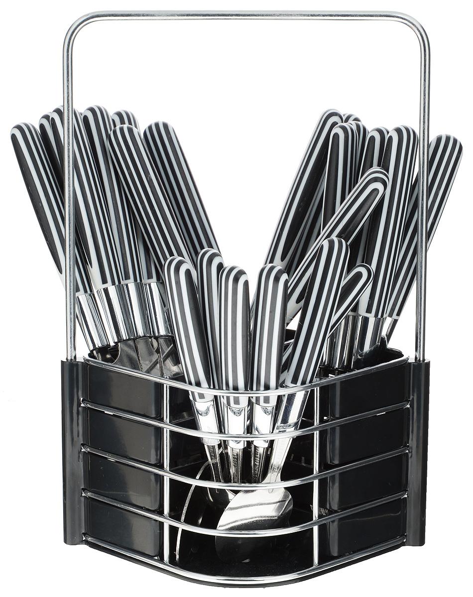 Набор столовых приборов Mayer&Boch, цвет: стальной, черный, белый, 25 предметов