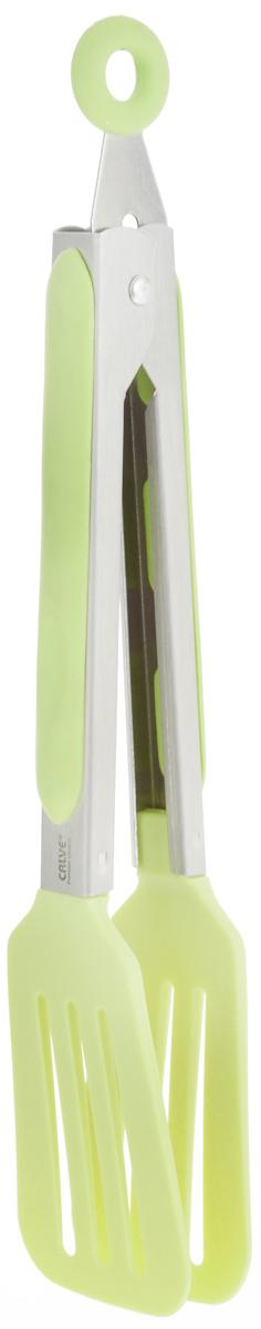 Щипцы сервировочные Calve, длина 23 см. CL-4640CL-4640_салатовыйСервировочные щипцы Calve, выполненные из нержавеющей стали и нейлона, оснащены специальным отверстием для подвешивания и снабжены резиновыми вставками для удобного и надежного хвата. Изделие безопасно для посуды с антипригарным покрытием.Такой кухонный аксессуар создаст комфорт не только вашим гостям, но и вам. Высококачественные материалы изделия способствуют длительному использованию.Можно мыть в посудомоечной машине. Длина щипцов (без учета петельки): 23 см.