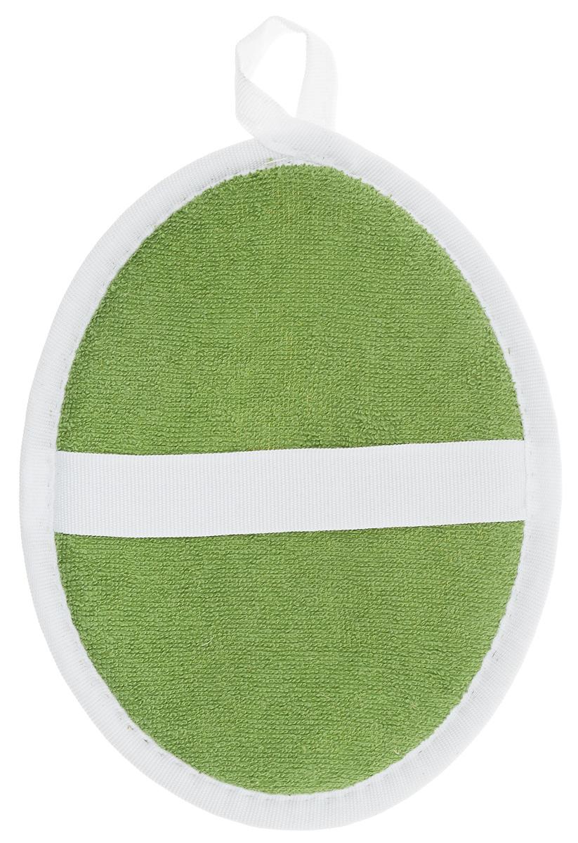 Мочалка Eva Овал, цвет: зеленый, белый, 15 х 19 см. М63М63_зеленыйМочалка Eva Овал, выполненная из хлопка, крапивы и пенополиуретана, превосходно массажирует, тонизирует и очищает кожу. Натуральная мочалка из крапивы, сохраняет все ценные свойства этого растения. Она идеально подходит для профилактики и борьбы с целлюлитом. Благодаря своему составу мочалка отлично пенится. На оборотной стороне изделия есть специальная резинка, благодаря которой мочалка фиксируется на руке. Также имеется удобная петля для подвешивания.Подходит для всех типов кожи и не вызывает аллергии.Размер: 15 х 19 х 1,5 см.Уровень жесткости: средний.