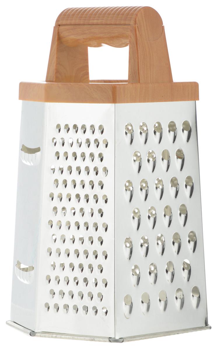 Терка Mayer & Boch, шестигранная. 88618861Терка Mayer & Boch изготовлена из высококачественной нержавеющей стали с зеркальной полировкой. Терка оснащена удобной ручкой, выполненной из ABS пластика под дерево, которая не позволит изделию выскользнуть из рук. На одной терке представлены шесть видов терок - крупная, мелкая, терка для овощных пюре, фигурная, шинковка и шинковка фигурная. Каждая хозяйка оценит все преимущества этой терки. Благодаря этому можно удовлетворить любые потребности по нарезке различных продуктов.Наслаждайтесь приготовлением пищи с многофункциональной теркой Mayer & Boch.Можно мыть в посудомоечной машине.