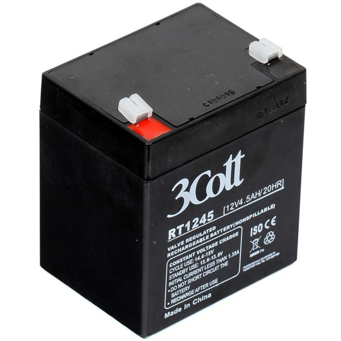 3Cott 12V4.5Ah аккумулятор для ИБП3Cott-12V4.5AHАккумулятор 3Cott 12V4.5Ah может применяться в самых разных источниках бесперебойного питания, портативных устройствах, и других случаях, где есть необходимость качественного источника энергии, и небольших размеров. Данная модель отличается быстрым процессом зарядки, рассчитан на продолжительную работу, не обладает эффектом памяти и легко восстанавливает работоспособность после глубокого разряда.Аккумулятор полностью герметичен и жаропрочен, загущенный непроливной электролит позволяет использование данных аккумуляторных батарей практически в любом положении. Модель имеет предохранительный клапан, который выводит образованные внутри батареи, (в случае перезаряда) газы, за пределы корпуса, что предотвращает вздутие и выход АКБ из строя.Клеммы типа Т2