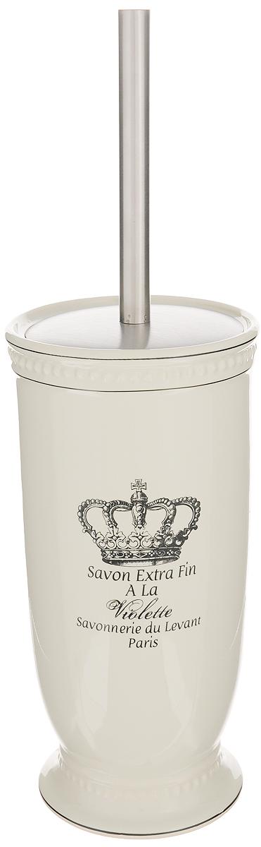 """Ершик для унитаза Vanstore """"Корона"""" выполнен из пластика с жестким ворсом и оснащен металлической откручивающейся ручкой. Он хранится в изысканной керамической подставке, покрытой слоем глазури. Подставка декорирована изображением короны и красивым ненавязчивым рельефом и больше напоминает вазу. Ершик отлично чистит поверхность, а грязь с него легко смывается водой.Ершик в стильной оригинальной подставке красиво дополнит интерьер ванной комнаты и создаст особую атмосферу уюта и комфорта. Длина ершика (с ручкой): 35 см. Длина ворса: 2,5 см.Размер подставки: 12 х 12 х 24 см."""