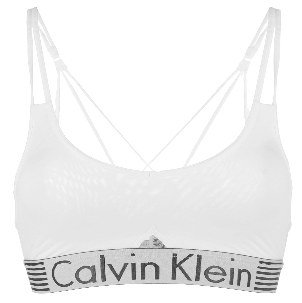 Топ-бра женский Calvin Klein Underwear, цвет: белый. QF1537E. Размер L (46/48)QF1537EУдобный и практичный топ-бра Calvin Klein, выполненный из высококачественного эластичного полиамида, идеально подойдет для активного отдыха и занятий фитнесом, а также для повседневной носки. Модель на тонких бретелях имеет широкий эластичный пояс, украшенный логотипом производителя. Тонкие несъемные бретельки надежно фиксируют топ на плечах. Такая модель подарит вам комфорт в течение дня и станет отличным дополнением к вашему гардеробу.