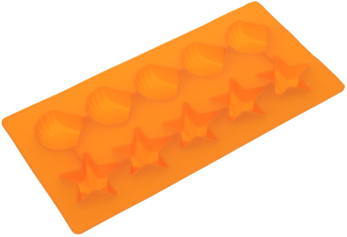 Форма для льда Marmiton Звездочки и ракушки, цвет: оранжевый, 10 ячеек16002_оранжевыйФорма Marmiton Звездочки и ракушки выполнена из силикона и предназначена для приготовления выпечки, мармелада или замораживания льда. На одном листе расположено 10 ячеек в виде звездочек и ракушек. Благодаря тому, что форма изготовлена из силикона, готовый десерт вынимать легко и просто.Материал устойчив к фруктовым кислотам, к воздействию низких и высоких температур. Не взаимодействует с продуктами питания и не впитывает запахи. Силикон абсолютно безвреден для здоровья. Чтобы достать лед, эту форму не нужно держать под теплой водой или использовать нож. Подходит для использования в духовке и микроволновой печи. Можно мыть в посудомоечной машине.Общий размер формы: 21 х 10,5 х 2,5 см. Количество ячеек: 10 шт.Размер ячеек (в виде ракушек): 3,5 х 3,5 х 2 см.Размер ячеек (в виде звездочек): 4 х 3,5 х 2 см.
